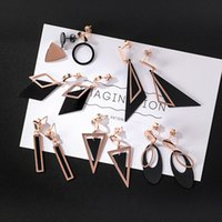 Simple and fashionable long style of titanium steel earrings...