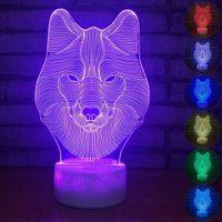 Visuelle Wolf Nachtlicht 7 Farbe USB 3D LED Leuchten Weihnachtsgeschenk für Baby Zimmer Home Decor Acryl Leuchten # R54