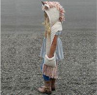 كارتون الاطفال يونيكورن قبعة وشاح 2 في 1 طفل الأطفال شتاء دافئ محبوك القبعات الرضع قبعات قبعة صغيرة مع الشرابة Scaves الكروشيه الطفل قبعة