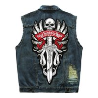 Motorcycle Hip- Hop VestRipped Mens Denim Vest Male Tank Top ...