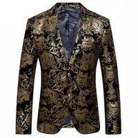 Blazer de oro negro Hombres Paisley Floral Traje de la boda Chaqueta Traje Slim Fit Trajes con estilo desgaste de la etapa para hombres Blazers Designs