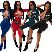 Señoras medias mangas traje de carreras Moda casual impresión traje de carreras cinco puntos mangas pantalones casual Mujeres chándal 4 estilos LJJG31