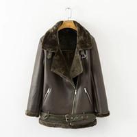 Fitaylor 겨울 가짜 램 가죽 자켓 여성 가짜 가죽 양 양모 모피 칼라 스웨이드 자켓 코트 여성 따뜻한 두꺼운 겉옷