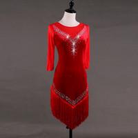 0c6d664a28 2019 fez vermelho trajes de dança moderna para as mulheres latino vestido  de dança latina rumba