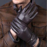 جديد مصمم فاخر رجل قفازات عالية الجودة جلد الغنم الحقيقي القفازات قفازات الشتاء الدافئ للأزياء الذكور قفاز luvas