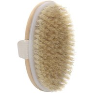 Natural Bristle Dry Skin Body Brush Soft Handle Pouch SPA Sh...