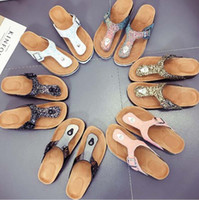 30pairs 2018 Hot summer Women flats sandals Cork slippers un...