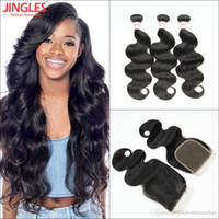 Body Wave Remy Human Hair Bundles with Closure Peruvian Hair...