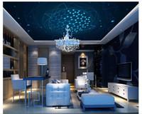 Personalizado Grande Teto Mural Papel De Parede 3D Estéreo Sonho Azul Magia Fotossensível Círculo Moda KTV Photo Ceiling Wallpapers decoração de Casa