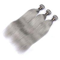 Les cheveux raides brésiliens de vague de corps tisse les trames doubles de couleur grise 100g / pc peuvent être teints des prolongements de cheveux de Remy humains