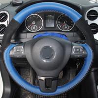Blaues Leder Schwarz Wildleder DIY Handgenähter Lenkradbezug für Volkswagen VW Golf Tiguan Passat B7 CC Touran Magotan Jetta