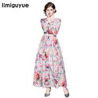 Limiguyue diseñador de lujo de alta calidad vestido de la pista de las mujeres vestidos de otoño o cuello de manga larga de impresión vintage largo vestido maxi Z0931