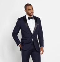 남성에 대 한 높은 품질의 저렴한 어두운 파란색 결혼식 정장 두 조각 슬림 맞는 신랑 턱시도 맞춤형 남자 정장 정장 (자켓 + 바지 + 넥타이)