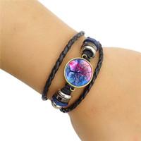 Árvore de vida de vidro cabochão pulseira ajustável string multicamada envoltório braceletes pulseira punho pulseira moda jóias para crianças mulheres e arenoso