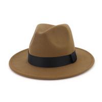Unisex Yün Keçe Geniş Brim Caz Fedora Şapka Siyah Şerit ile Sonbahar Kış Kadın Erkek Panama Resmi Şapka Kumarbaz Trilby Chapeau