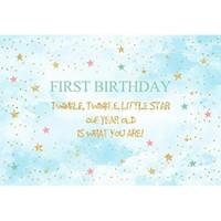 Personalizzato 1 ° compleanno Party Photo Sfondo brillare Twinkle Little Stars Polka Dots pastello Blue Sky Boy Baby Shower sfondo