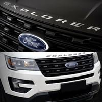 Fit For Ford Explorer 2011-2018 Sport Silver BLACK Hood Emblem Letters Finitura lucida