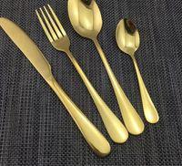 Altın renk Paslanmaz Çelik Yemek Setleri Sofra Bıçak Çatal Çay Kaşığı Lüks Çatal Seti Sofra Seti 60 adet