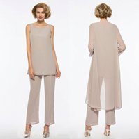 Plus Size Mother Of The Bride Pant Suit 3 Piece Chiffon For ...