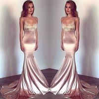 Blush rose bretelles spaghetti sirène robes de bal 2019 dentelle Vintage soie tache partie Porter des robes de soirée sexy robes de soirée sur mesure