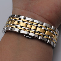 7beads bracelets bracelets de montre en acier inoxydable bracelets de couleur argentée et or mélangée de couleur droite se termine 14mm 16mm 18mm 20mm 22mm 23mm 24mm