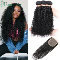 Brazilian Curly Human Hair Bundles With Closure Brazilian Hu...