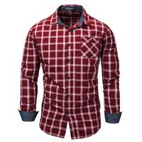 Artı boyutu Yeni Moda erkek Uzun Kollu Ekose Elbise Gömlek Çekler Gömlek Casual Erkek Sosyal İş Gömlek% 100% Pamuk