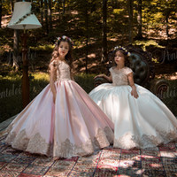 Pink Princess Vestidos menina do vintage com festa de casamento Appliqued Lace ouro Tutu crianças Vestidos de aniversário 2106