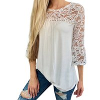 Hallow Out Lace Shirt Women O- Neck Elegant Lady White Shirts...