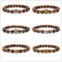 6 стили 8 мм тигровый глаз каменные бусины браслет металл Сова Лев голова подвески баланс Будда молитва стрейч йога браслет ювелирных изделий