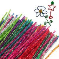 100pcs / dozzina lungo 30 centimetri scintillio steli di ciniglia tubi pulitori giocattoli per bambini materiali artigianali fai da te per i bambini creativi giocattoli educativi