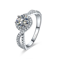 1ct волна стиль кольцо стерлингового серебра 925 кольцо проложили участие синтетические бриллианты кольцо женские ювелирные изделия женщины белое золото цвет