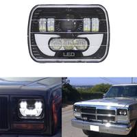"""7x6 LEDヘッドライトHID電球ビームヘッドランプDRL用ジープチェロキーXJトラック7x6 5×7 """"120W LEDヘッドライト"""