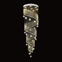 الحديث كريستال الثريا دوامة تصميم فاخر درج الكريستال مصابيح السقف ل غرفة الطعام إضاءة داخلية