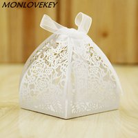 100pcs Lace Flower Design Laser Cutting Wedding Candy Box We...