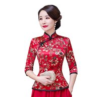 a0216fd908c774 Shanghai Story Floral Cheongsam Shirt Qipao Top 3 4 Sleeve Chinese  Traditional Top Faux Silk Chinese Blouse For Women