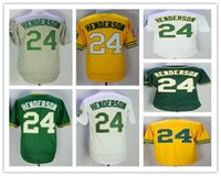 men' s 24 Rickey Henderson jersey Yellow White Green 198...