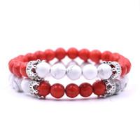 8mm preto fosco ágata branco howlite pedra coroa rei beads his e dela casal amante pulseira jóias
