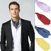 Hombres de satén sedoso Banquete de boda Fiesta Ascot Corbata con corbata Vintage Dot Paisley Estampado de flores Jacquard Floral Self Tie