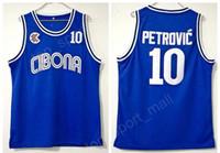 Faculdade 10 Drazen Petrovic Jersey Homens Universidade de Basquete Cibona Zagreb Jerseys Equipe Azul Respirável Para Os Fãs de Esportes de Alta Qualidade Em Venda