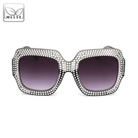 MLLSE Oversize Rhinestone Sunglasses for Women Brand Designe...