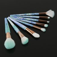 Новый профессиональный макияж кисти Set 8шт Джейд Pattern Cosmetics Foundation Powder Вентилятор Макияж Кисти Инструменты