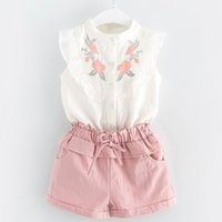 Summer Girls clothes Outfit set Sweet White Embroidery Shirt...