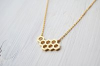 hollow geometric honeycomb necklace fashion honeycomb bee an...