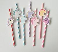 Carta Unicorno Cannuccia Paglie colorate Decorazioni di compleanno unicorno Baby Shower Bambini Bambini Bomboniere SN230