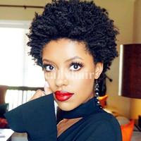 Lacewigs Rihanna Style Short Cut Sans Colle Cap 1B # / 2 # Remy Péruvienne Machine de Cheveux Humains Fabriquée Pour Les Femmes Noires En Stock Expédition Rapide