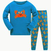 Crianças Conjuntos de Pijama 2018 Outono Inverno meninos meninas Manga Longa caranguejo Imprimir Sleepwear Bebê Crianças Algodão Nightwear Homewear