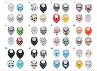 Bebek Ins Fox Önlükler Burp Bezleri 28 Tasarımlar Bebek Bandana Drool Bibs Snaps Erkek Ve Kızlar Süper Emici 4 adet / grup