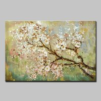 Mintura New Large 100% Handpainted Flowers Tree Abstract Mor...