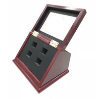 드롭 배송 슬 랜트 우드 T 자형 박스 클리어 페이스 4 모든 종류의 챔피언 쉽 링을위한 위치 구멍 표시 박스